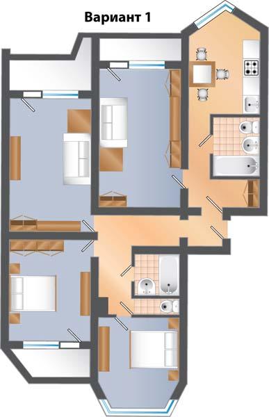Дизайн квартир распашонка трешка