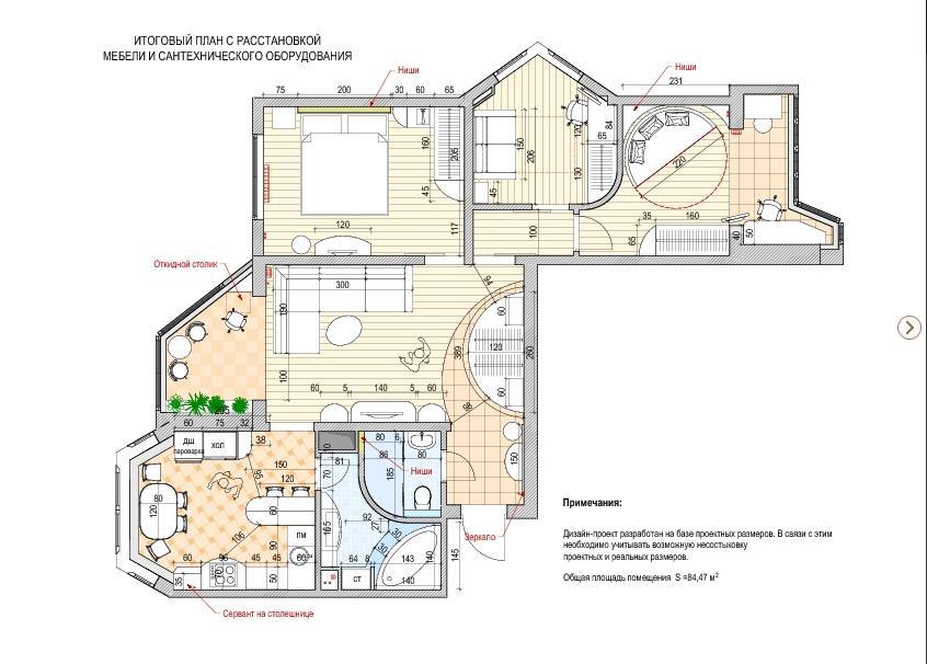 Ремонт и дизайн трехкомнатных квартир в домах серии п-3м